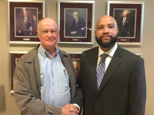 Mauldin Mayor Dennis Raines poses for a photo alongside newly hired Brandon Madden, who will be next city administrator. Mauldin City Council announced Madden's appointment at a special called meeting on Monday, Oct. 29, 2018.