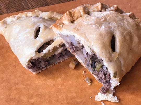 Pasties are meat and veggies wrapped in pastry.