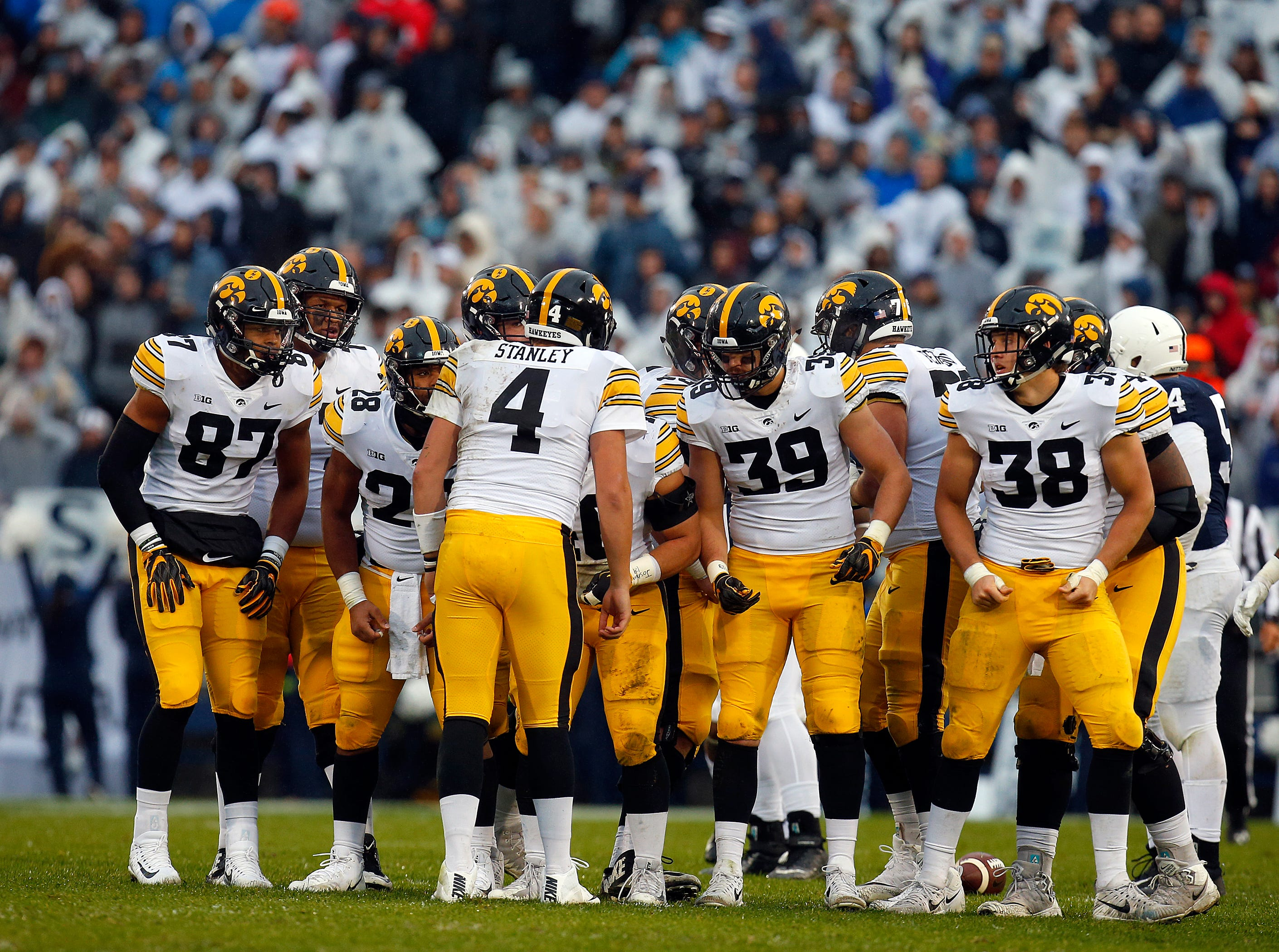Iowa quarterback Nate Stanley (4) had trouble getting ample time to find his receivers, and as a result he hurried his throws in most situations in a 30-24 loss at Penn State.