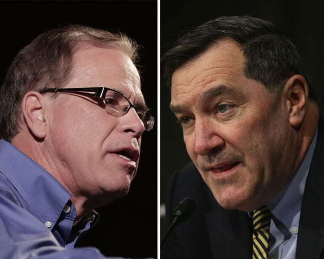 Mike Braun, left, and Joe Donnelly are candidates for a U.S. Senate seat from Indiana.