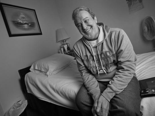 Richard Duarte smiles in his room at the Abbie Hunt Bryce Home, Friday, April 20, 2018.  The home offers hospice for the dying poor.  It also offers a place to recuperate for Eskenazi patients who are homeless or poor, and need a little more help before going back to their lives.  Duarte died at the home, Oct. 14, 2018.