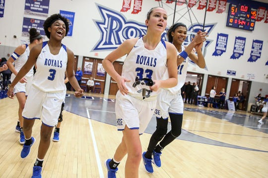 From left, Hamilton Southeastern's Malea Jackson (3), Sydney Parrish (33) and Tayah Irvin (21) could have the Royals thinking sectional title and beyond.