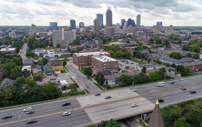 A skyline drone captures an image of Downtown Indianapolis on Aug. 17.