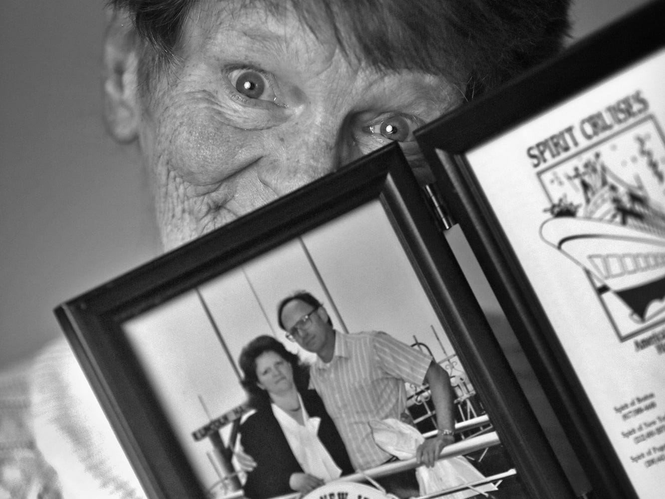 Dixie Hinz hold a photo of her husband and herself, at Abbie Hunt Bryce Home, Friday, April 20, 2018.  The home offers hospice for the dying poor.
