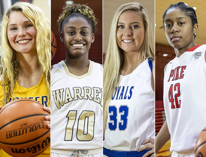 Left to right: Mooresville's Elise Scaggs, Warren Central's Shaila Beeler, Hamilton SE's Sydney Parrish and Pike's Kinnidy Garrard.