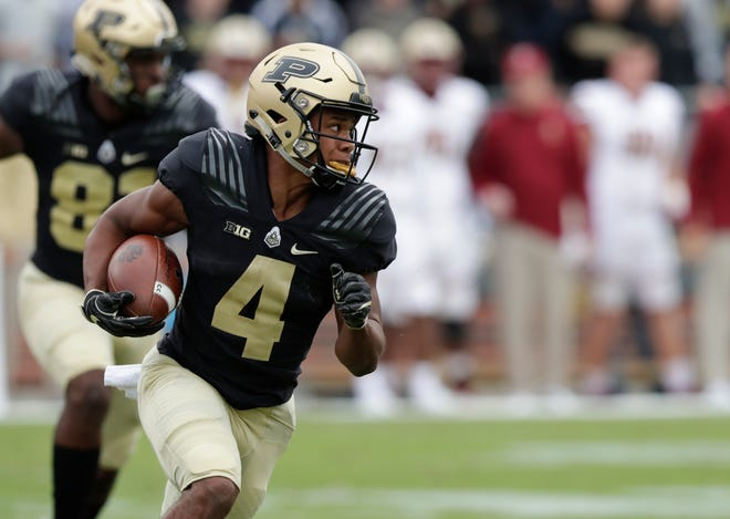 Purdue wide receiver Rondale Moore (4) runs against Boston College during the first half of an NCAA college football game in West Lafayette, Ind., Saturday, Sept. 22, 2018.