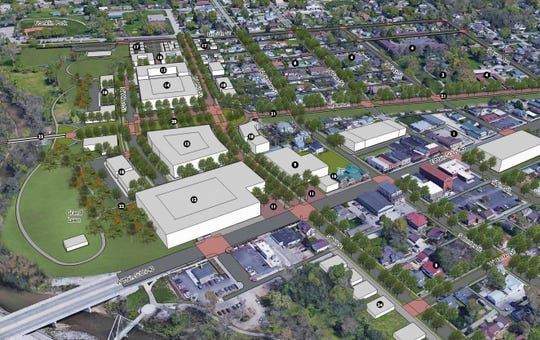 Conceptual plans for Plainfield that will include hundreds of new homes, new retail shops and restaurants, a town green and trails.