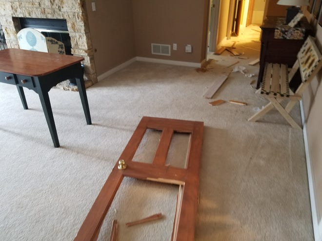 A rental property management company in Galena Territory, Illinois, claims that the University of Iowa fraternity Sigma Nu damaged several of their properties in March of 2017. Here's a photo the company submitted to the local sheriff's office detailing some of the damage.