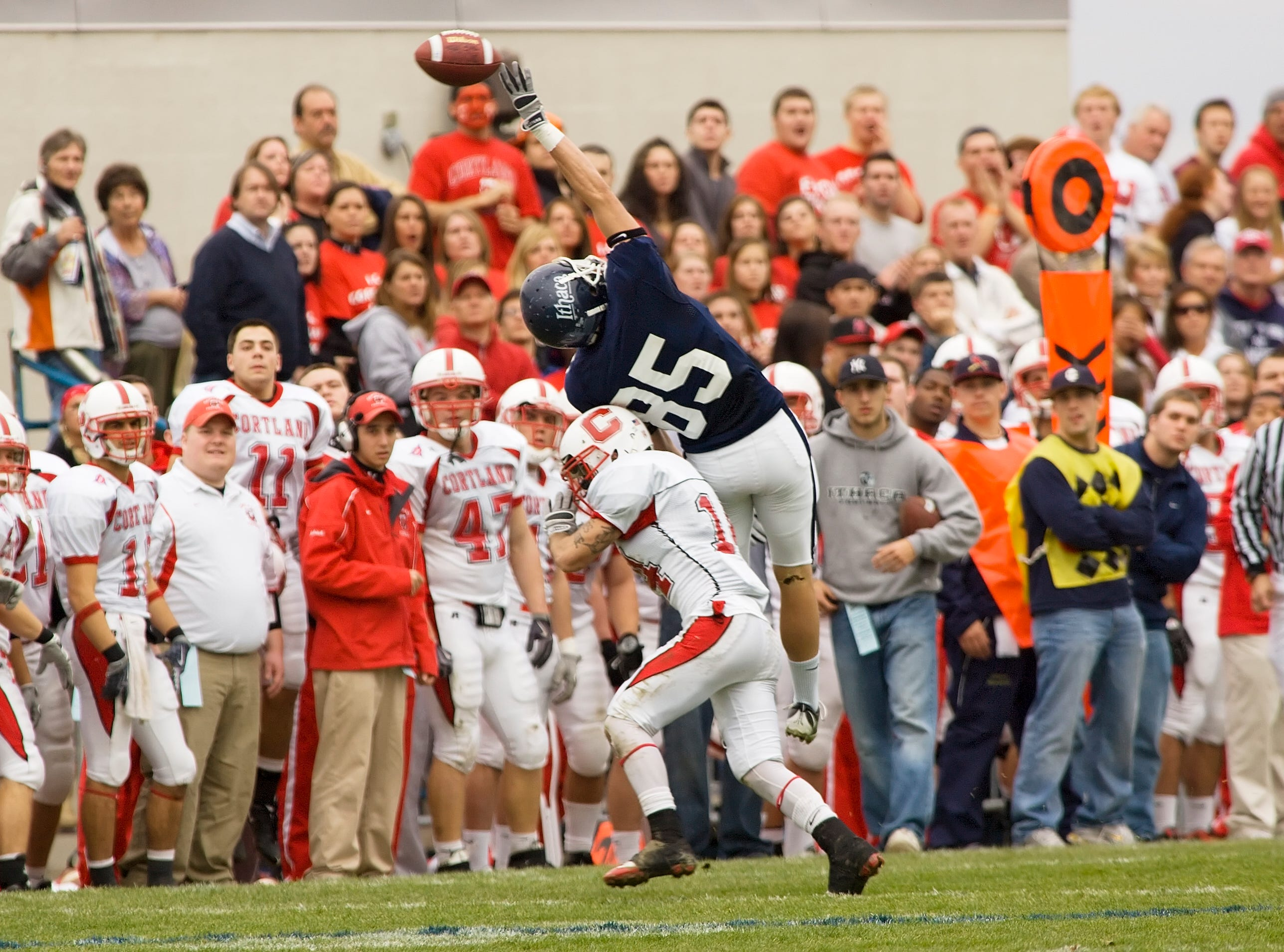 2009: IC receiver Joseph Ingrao, and Cortland cornerback Joe Lopez, in last year's game. Lopez has 7 interceptions this year for Cortland.