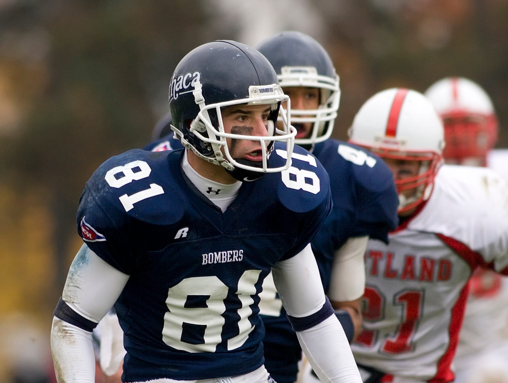 2007: Ithaca College wide receiver Kyle Crandall gets set for a block during their Cortaca Jug game against Cortland in November of 2007.