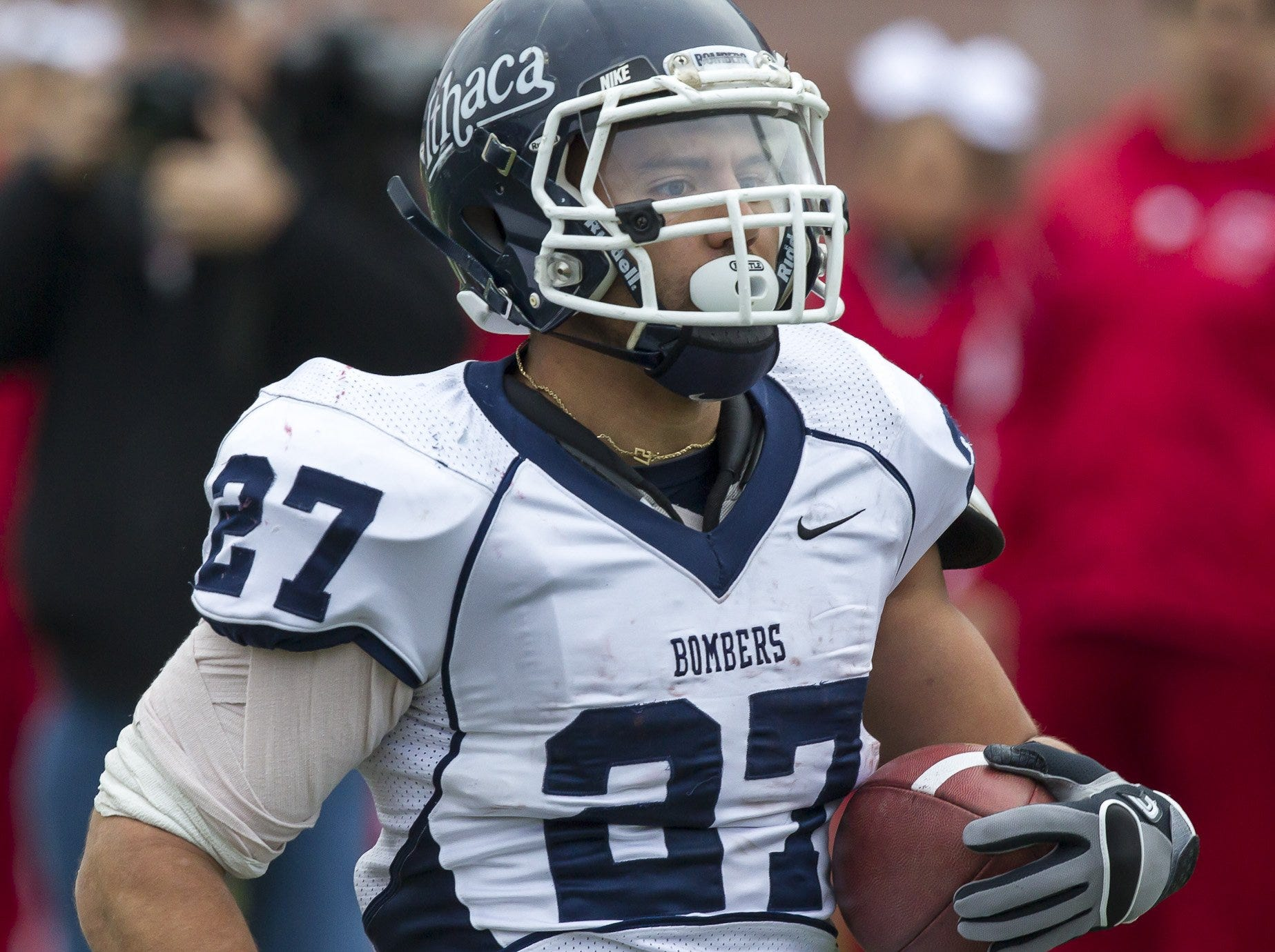 2012: Ithaca College senior Clay Ardoin runs for a touchdown during the first half Saturday at SUNY Cortland as the Ithaca College Bombers faced the Cortland Red Dragons in their annual Cortaca Jug game. Cortland defeated Ithaca College 16 to 10.