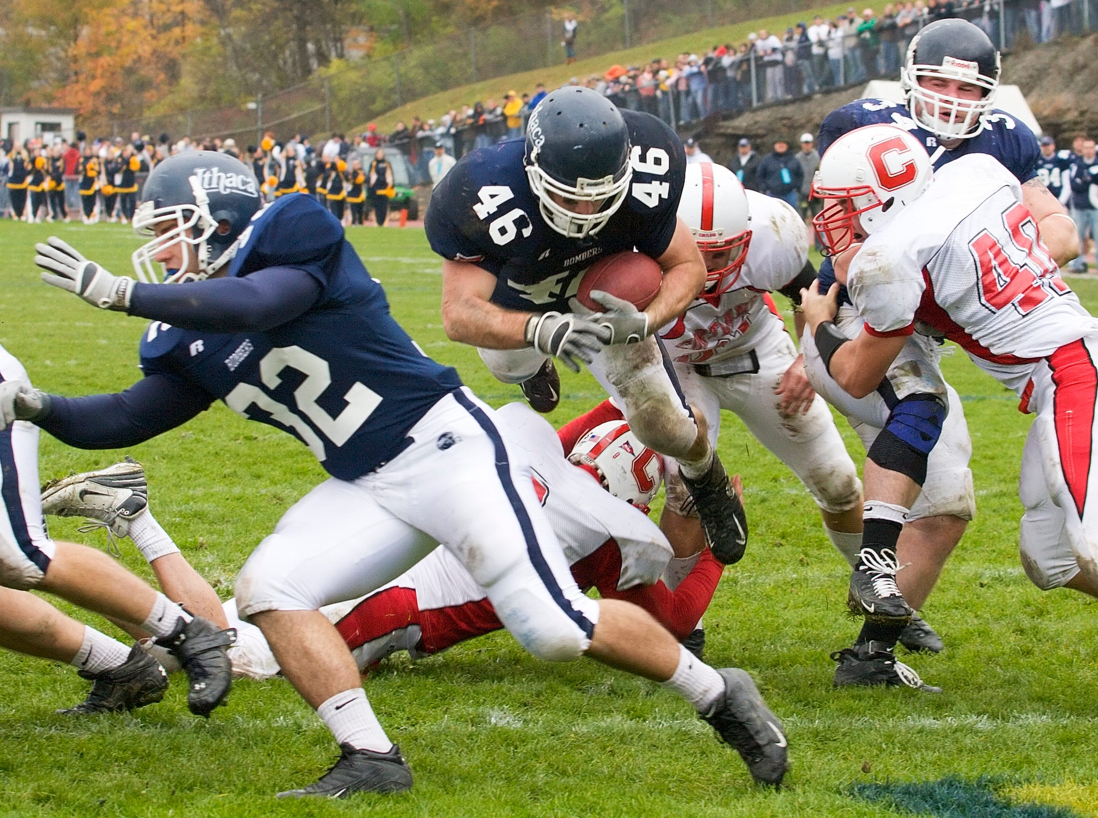 2007: Jamie Donovan dives for an Ithaca College touchdown in the second quarter of play during Saturday afternoonÕs Cortaca Jug at Butterfield Stadium in Ithaca.