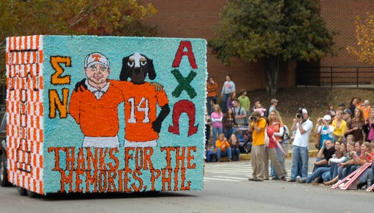 A float created by Sigma Nu and Alpha Chi Omega rolls along Volunteer Blvd. during the 2008 Homecoming Parade on Friday at the University of Tennessee.