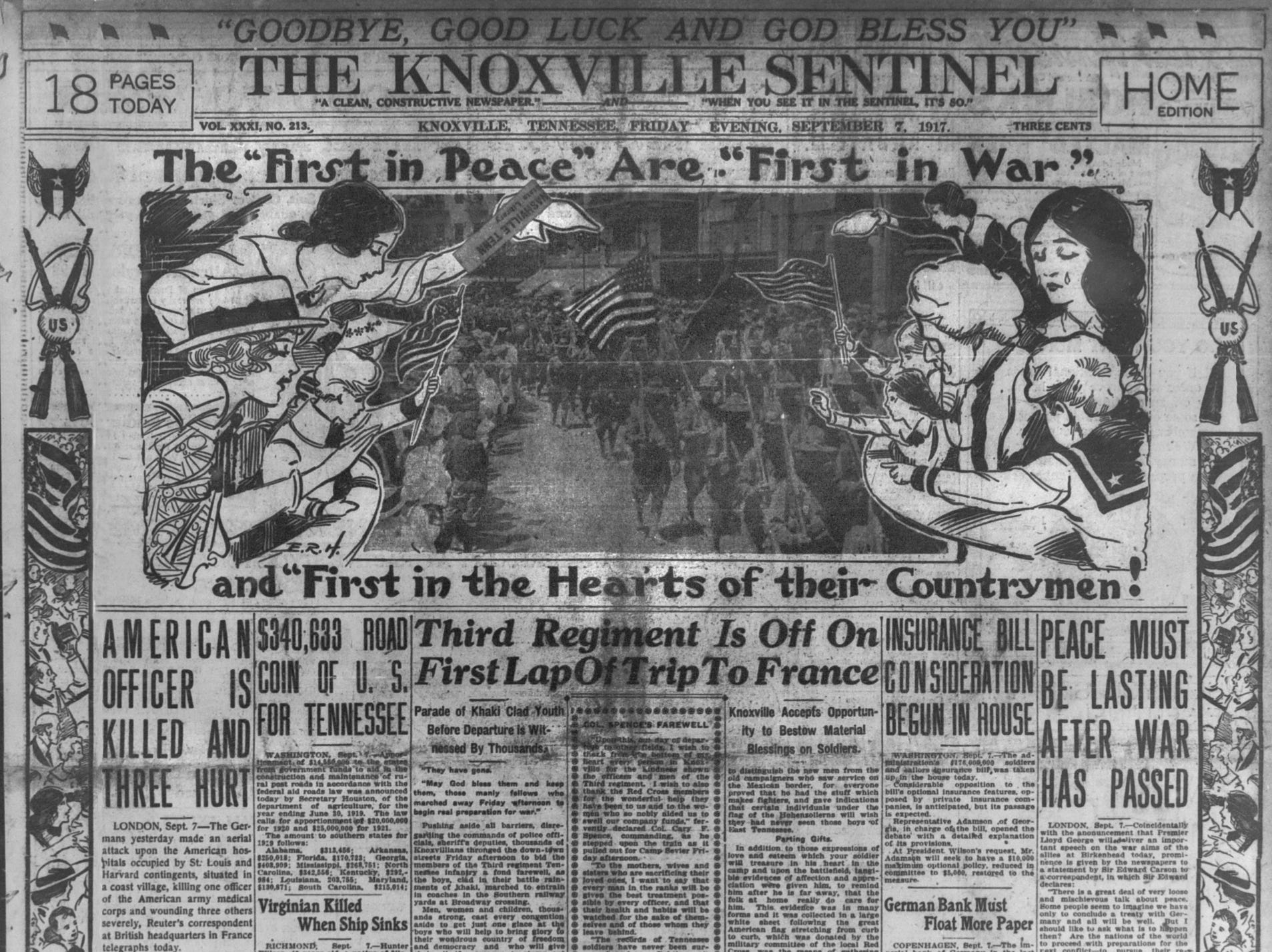 The Sept. 7, 1917 Knoxville Sentinel reports the departure of local soldiers for World War I. (KNS Archive)