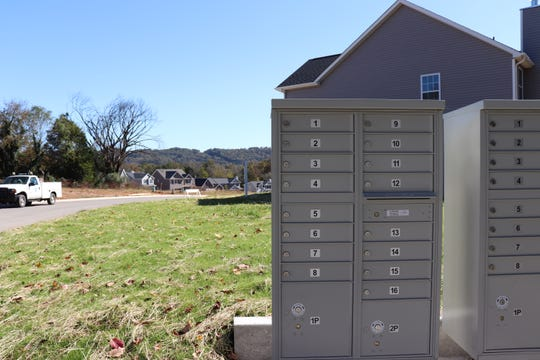 Cluster mailboxes are a short walk away from the Emory Brooke subdivision, in lieu of traditional mailboxes. The subdivision is still under construction as of Oct. 29, 2018.