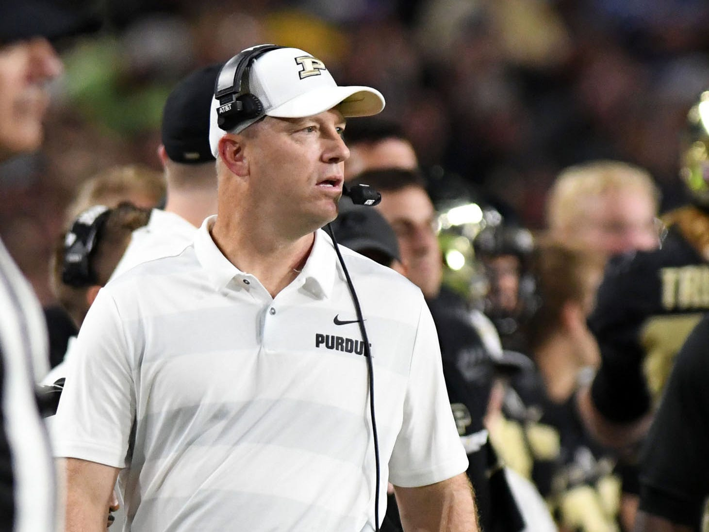 Aug 30, 2018; West Lafayette, IN, USA; Purdue Boilermaker head coach Jeff Brohm walks the sidelines in the first half against the Northwestern Wildcats at Ross-Ade Stadium. Mandatory Credit: Thomas J. Russo-USA TODAY Sports