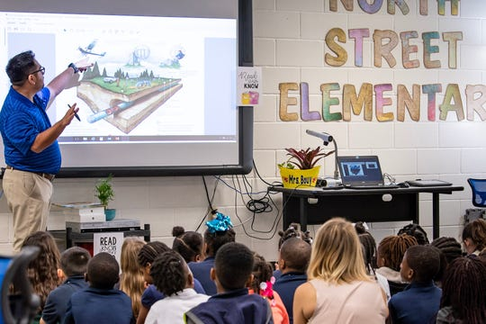 Joel Hasette, an operations manager for Energy Transfer, describes an illustration of a pipeline to students at North Elementary school in New Iberia.