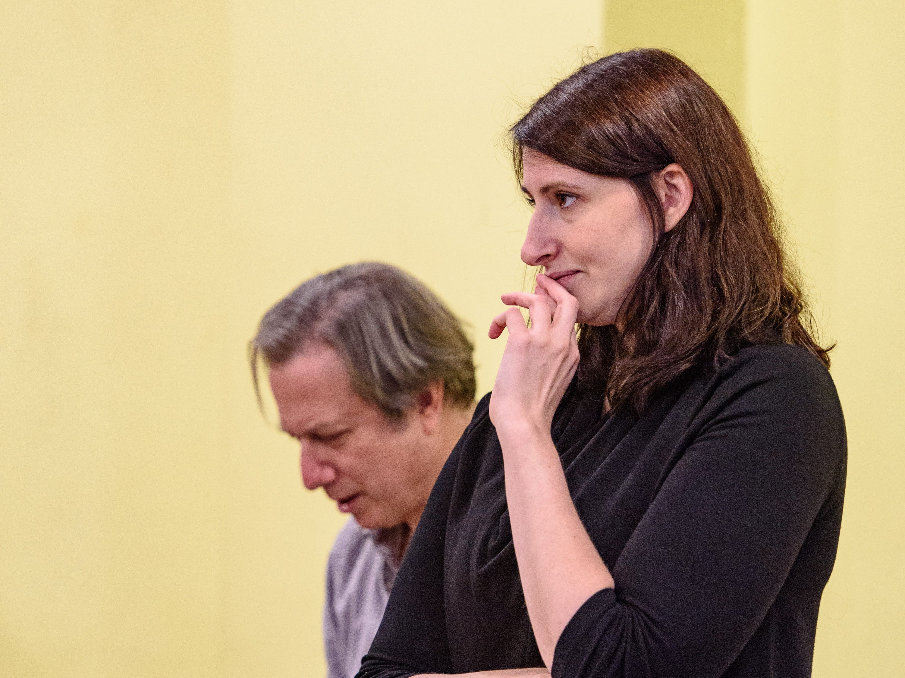 Conductor David Stern, left, and Stage Director Mary Birnbaum watch as Kentucky Opera works on their production of ÒEnemies, A Love Story,Ó in their rehearsal space at the Brown Theater. Oct. 27, 2018