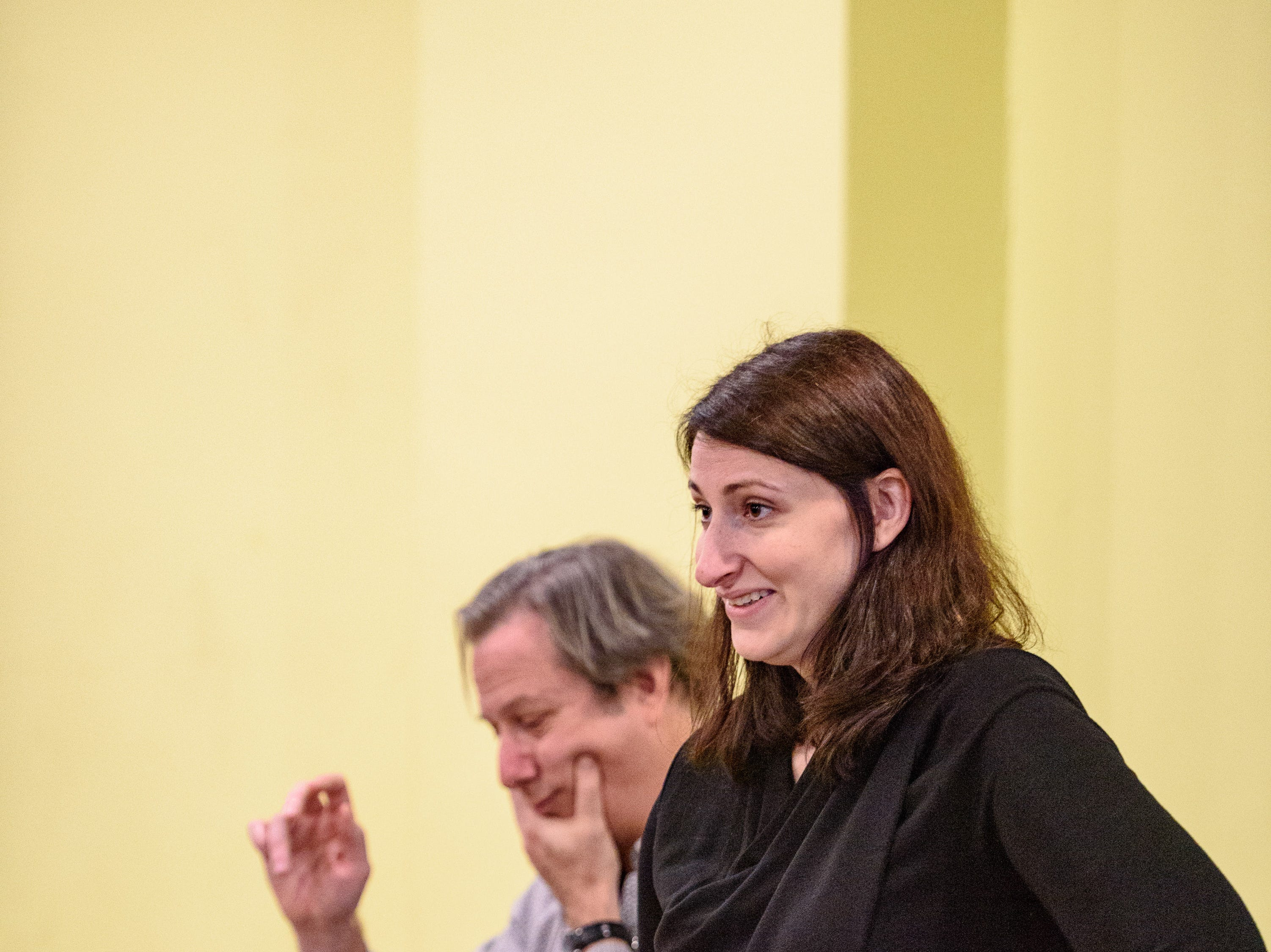 "Conductor David Stern, left, and Stage Director Mary Birnbaum reset the scene as Kentucky Opera works on their production of ""Enemies, A Love Story,"" in their rehearsal space at the Brown Theater. Oct. 27, 2018"