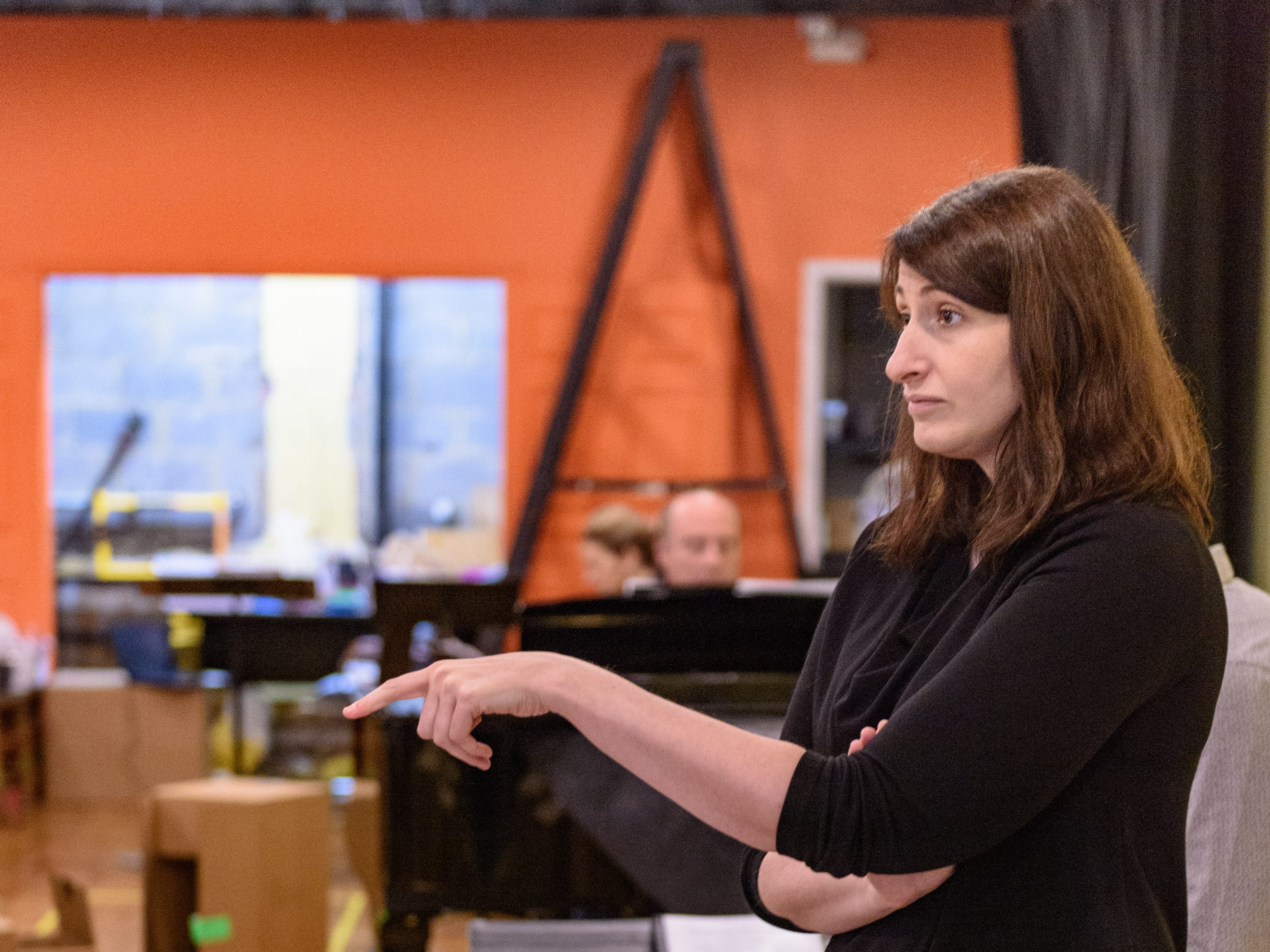 Mary Birnbaum directs a scene in Kentucky Opera's production of ÒEnemies, A Love Story,Ó in their rehearsal space at the Brown Theater. Oct. 27, 2018