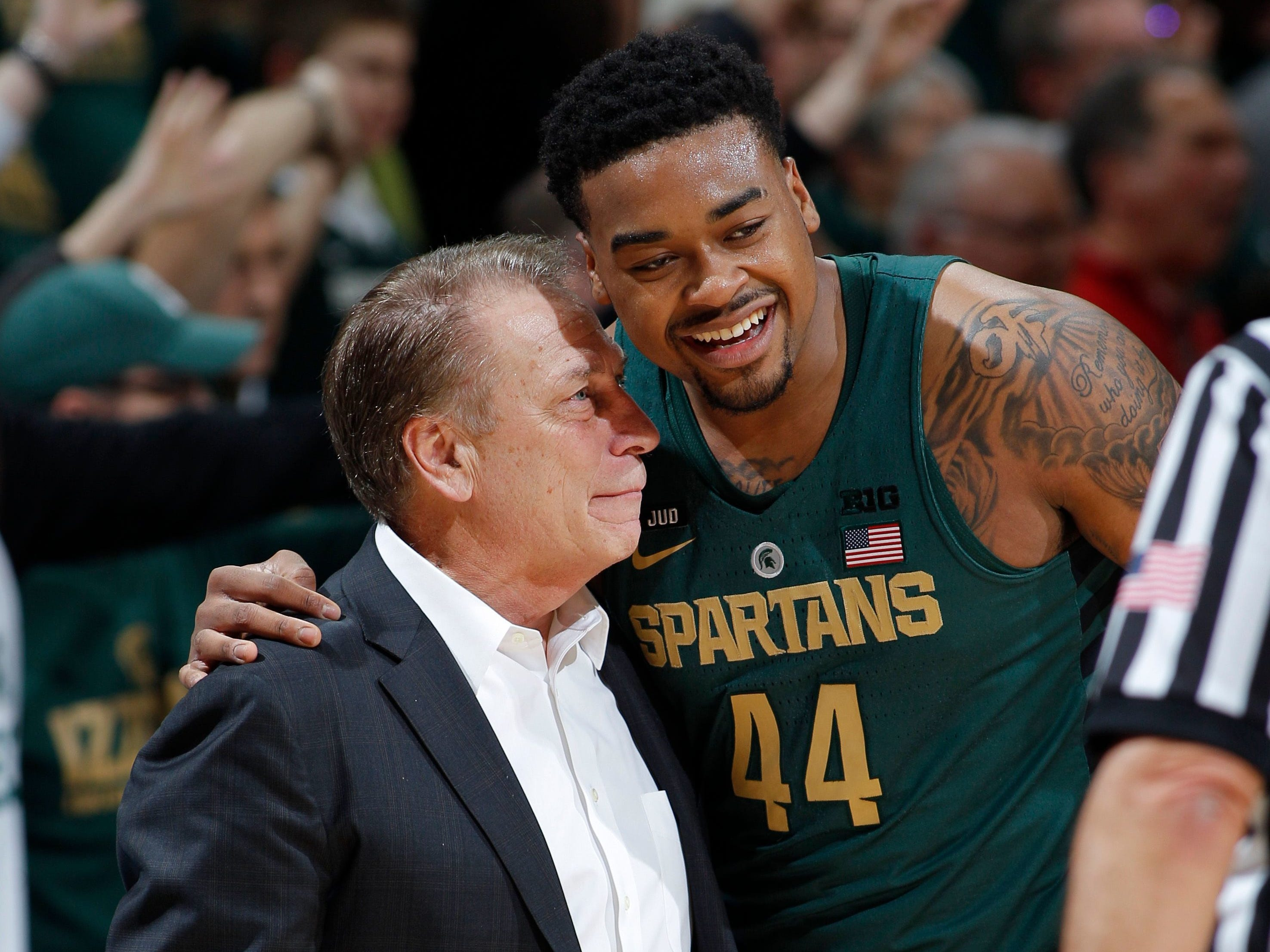 Michigan State coach Tom Izzo and forward Nick Ward talk during Thursday?s 91-61 win over Maryland at Breslin Center. MSU faces Ohio State today at 4:30 p.m.  Al Goldis/AP Michigan State coach Tom Izzo and forward Nick Ward talk during the second half of the 91-61 win over Maryland at Breslin Center on Jan. 4, 2018 in East Lansing.
