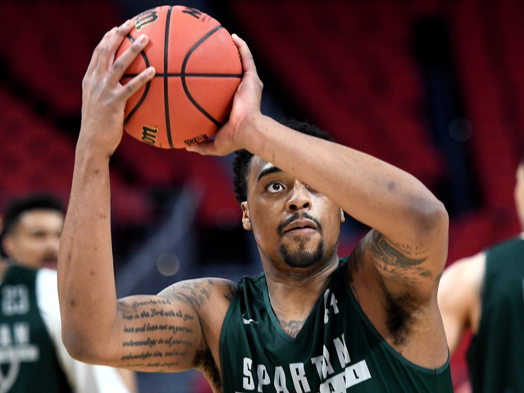 Michigan State's Nick Ward shoots during an open practice on Thursday, March 15, 2018, at the Little Caesars Arena in Detroit.