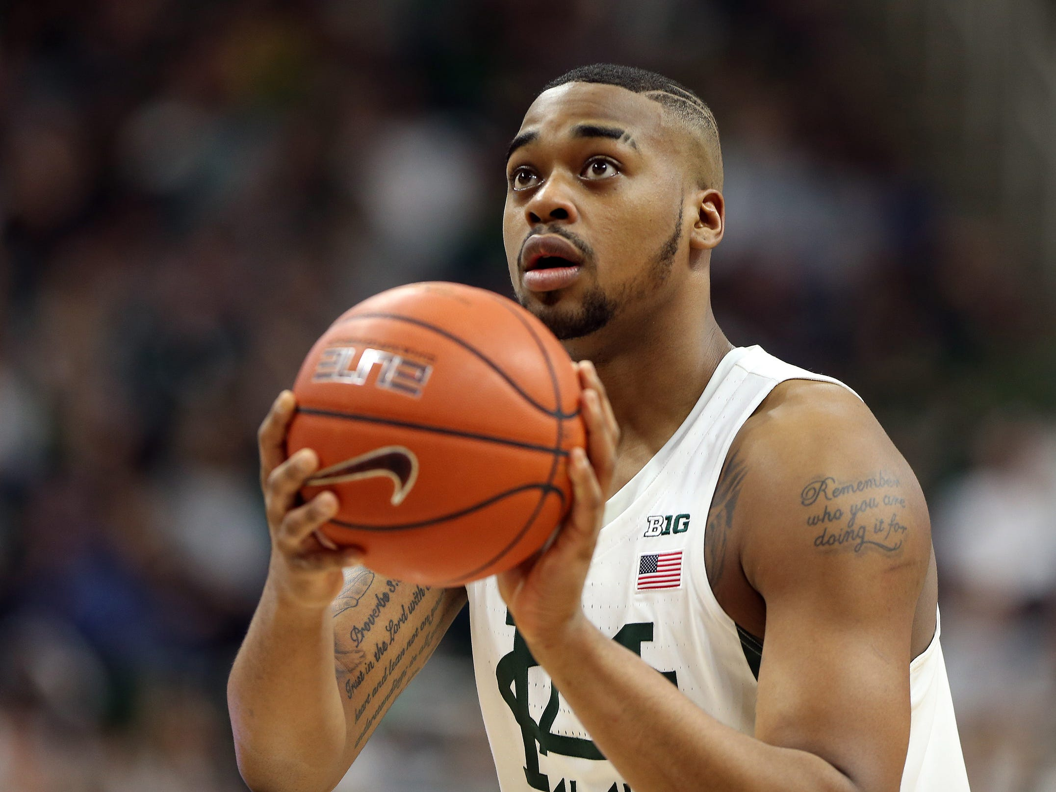 Mike CarterUSA TODAY  Michigan State forward Nick Ward prepares to shoot a free throw during the second half earlier this month against Iowa at Breslin Center in East Lansing. Feb 11, 2017; East Lansing, MI, USA; Michigan State Spartans forward Nick Ward prepares to shoot a free throw during the second half against the Iowa Hawkeyes at the Jack Breslin Student Events Center.