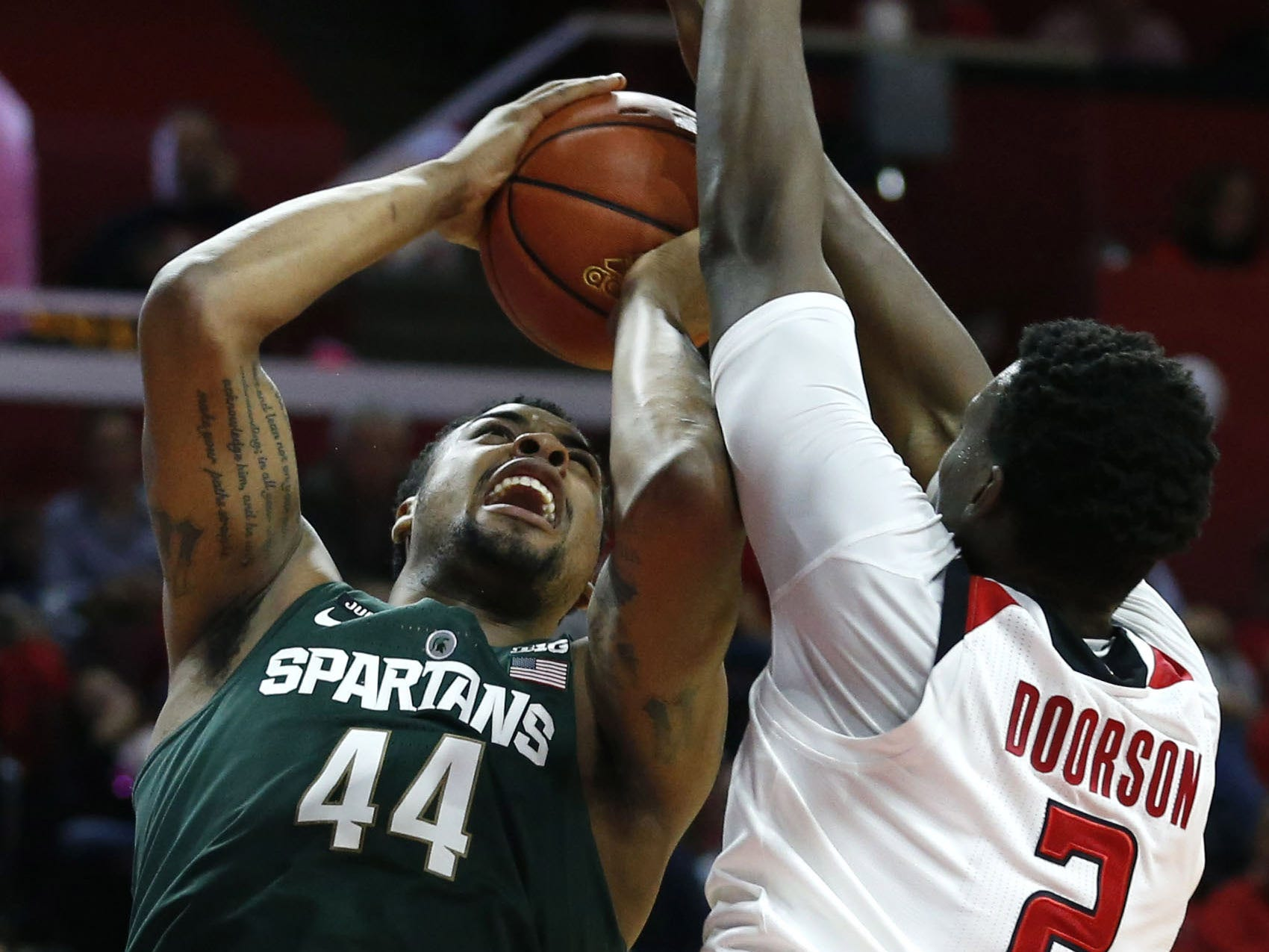 Nick Ward?s performance Tuesday prompted an animated discussion on the bench between him and MSU coach Tom Izzo.   Noah K. Murray/uSA TODAY Sports Dec 5, 2017; Piscataway, NJ, USA; Rutgers Scarlet Knights center Shaquille Doorson (2) defends against Michigan State Spartans forward Nick Ward (44) during first half at Louis Brown Athletic Center. Mandatory Credit: Noah K. Murray-USA TODAY Sports
