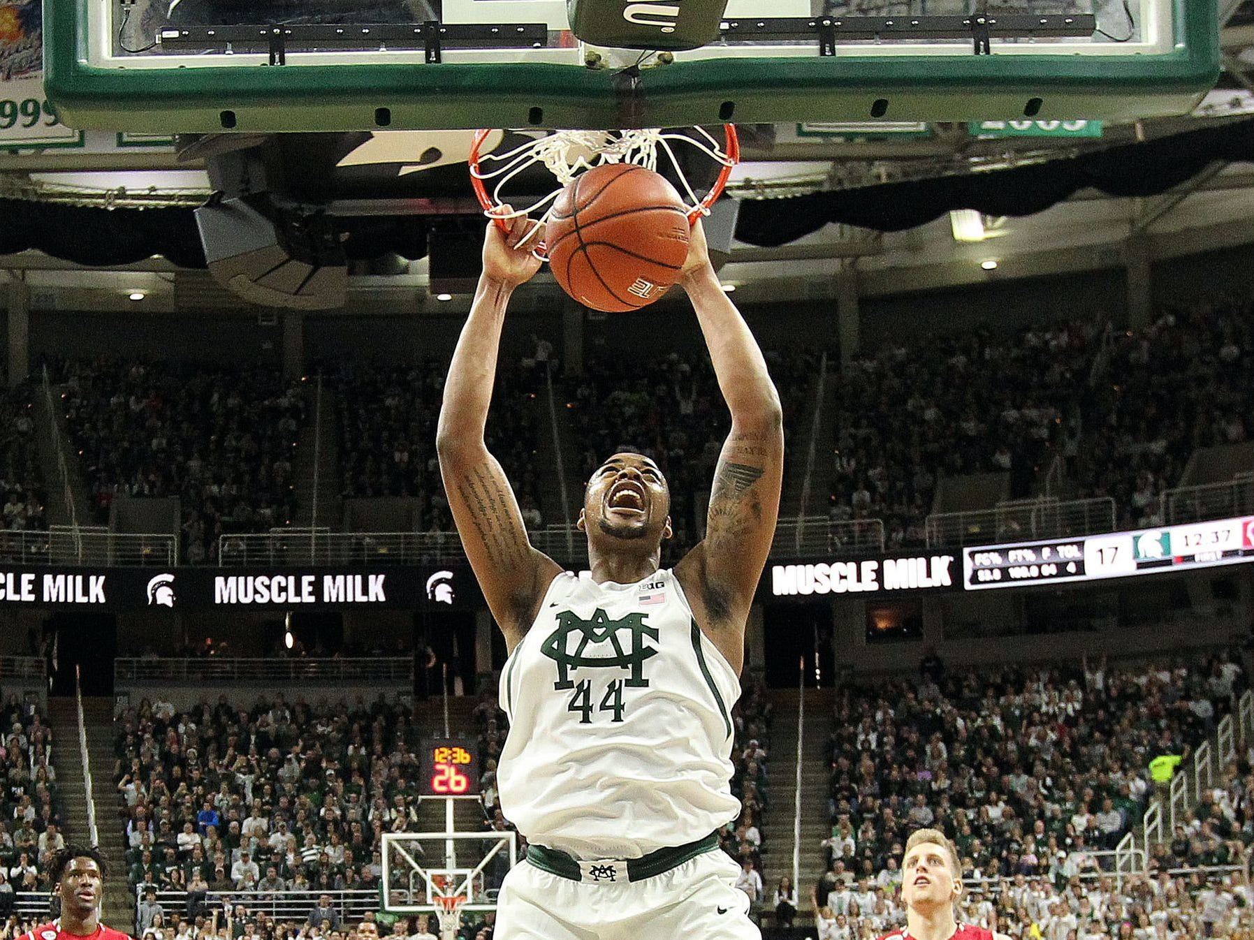 Mike Carter/USA TODAY Sports Michigan State forward Nick Ward averaged 13.6 points per game, second only to teammate Miles Bridges among Big Ten freshmen, and his 6.3 rebounds were third among freshmen. Michigan State forward Nick Ward dunks against Wisconsin during the first half of MSU's win Sunday at Breslin Center.