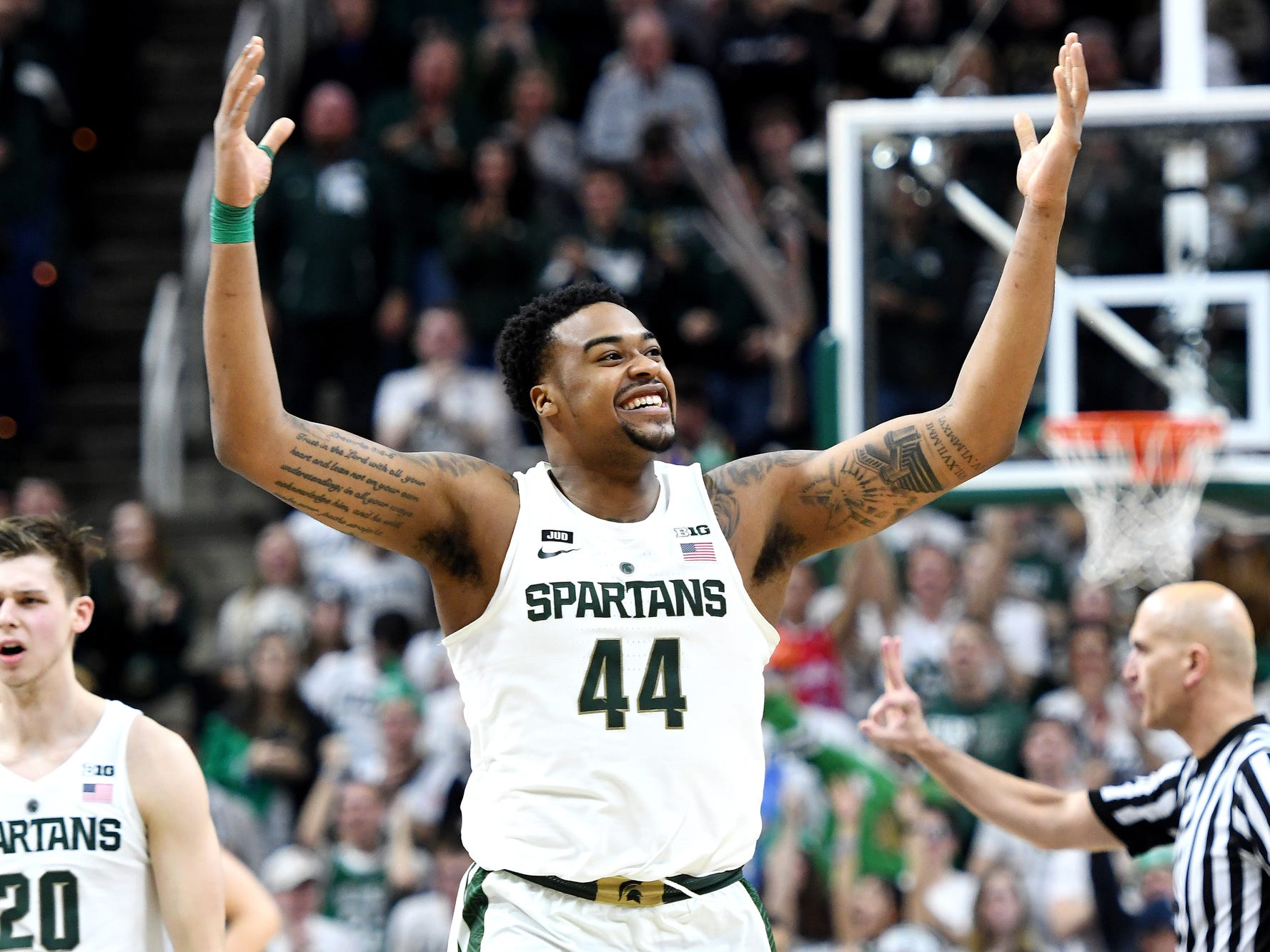 Michigan State's Nick Ward celebrates during the second half on Saturday, Feb. 10, 2018, at the Breslin Center in East Lansing. The Spartans beat Purdue 68-65.