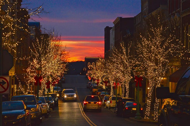 Christmas lights along historic Franklin Street in Clarksville.
