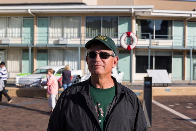 Dave Rosner of California stands outside of the National Civil Rights Museum in Memphis on Monday afternoon.