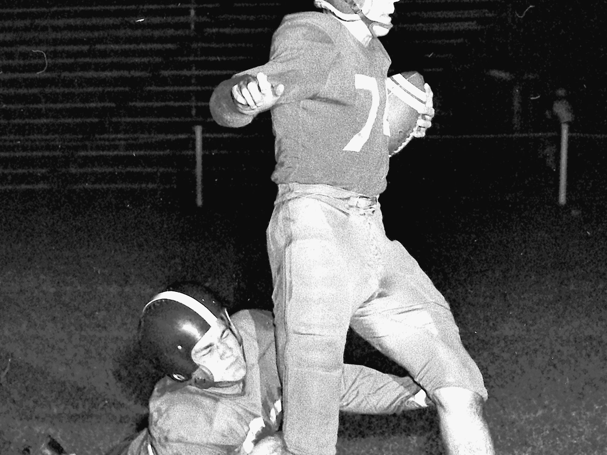The last man for Catholic High, Glenn Calvert, caught Central's Don Hoffman from behind to prevent a Warrior touchdown on 30 Oct 1951.  Central went on to win the game, however, 33-6.