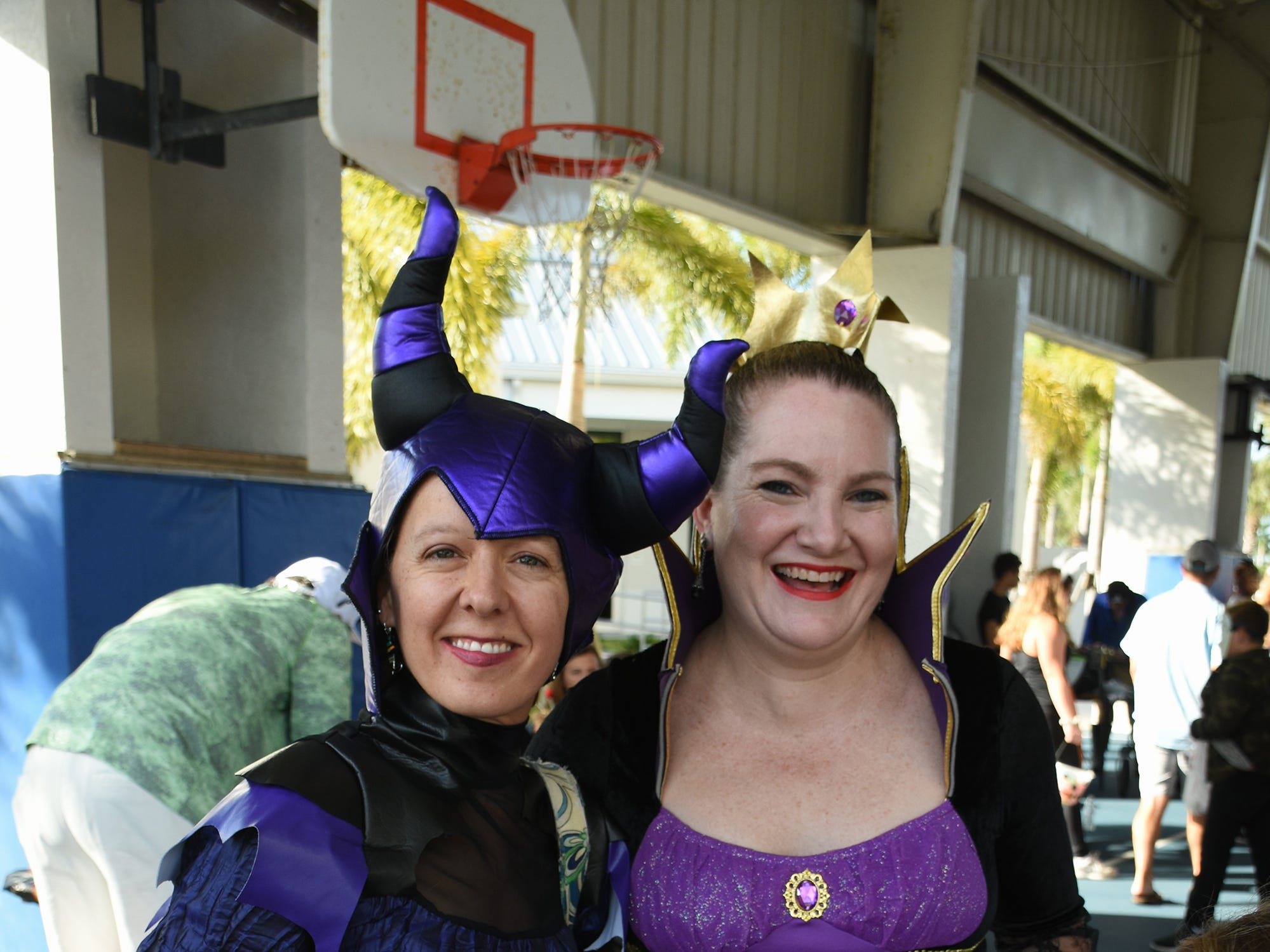 Suzi Szczepanski, left, and Jennifer Tenney didn't leave the dressup to the kids. The Spooktacular, the City of Marco Island's pre-Halloween celebration, returned to Mackle Park's air-nasium on Saturday afternoon, with costumes, games and family fun.