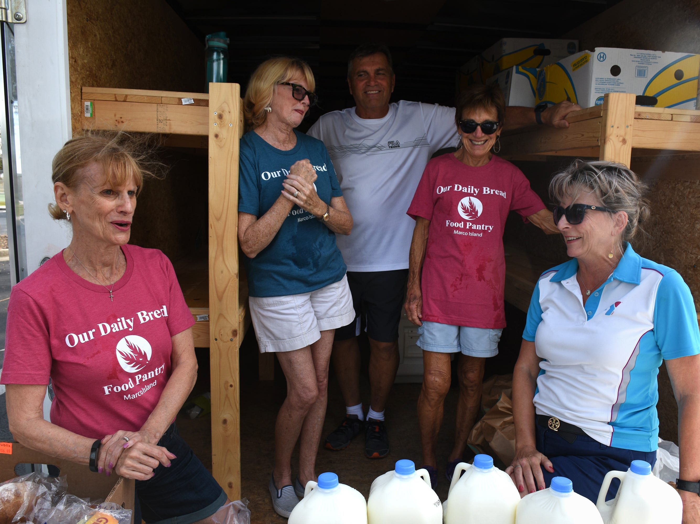 Al's Pals members Lorraine Corva, from left, Patti Porter, Rick Marcantonio, Tricia Simmler and Allyson Richards. A group of Marco Island volunteers conducts a food pantry Friday afternoon at Manatee Middle School.