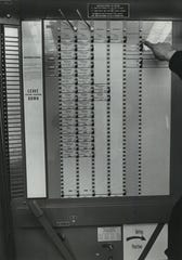 "For the November 1968 presidential election, the city of Milwaukee used voting machines for the first time. The large levers at the upper left allowed voters to select a ""straight ticket"" of Democrats or Republicans, but it didn''t include the presidential candidates. This photo was published in the Nov. 4, 1968, Milwaukee Journal."