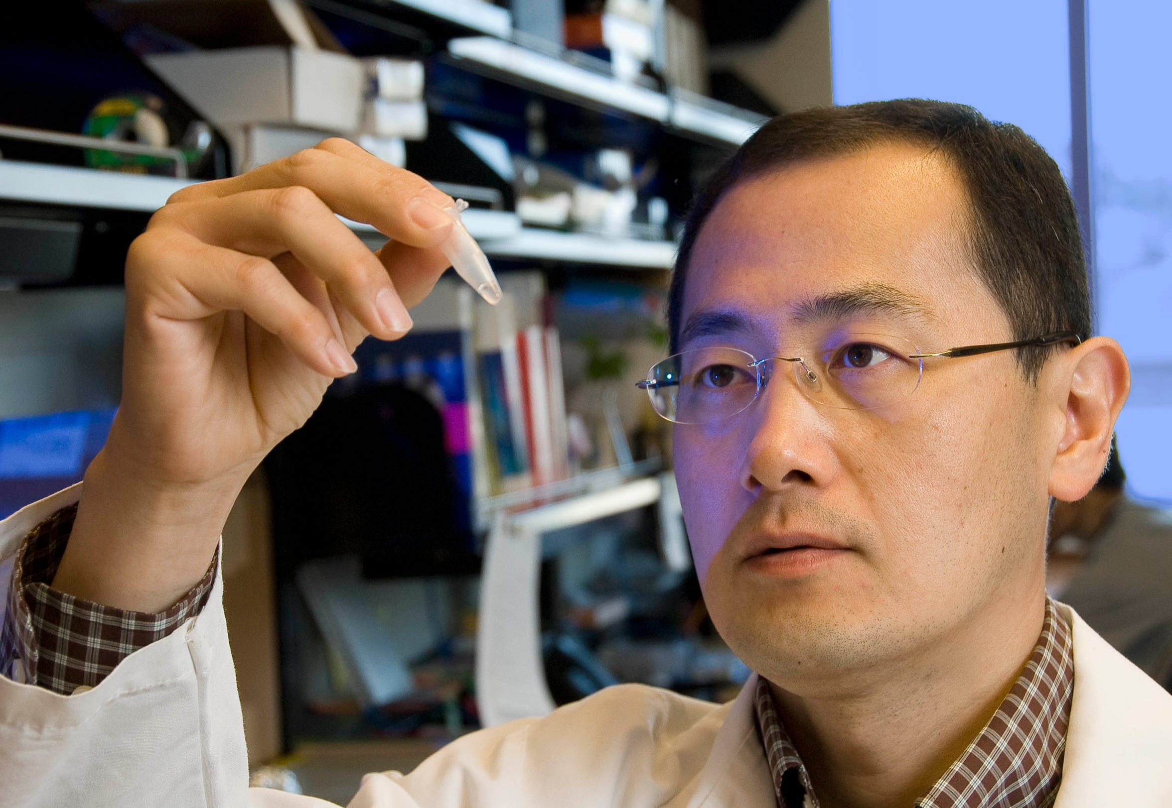 Shinya Yamanaka researches human stem cells at the Gladstone Institutes in San Francisco in 2008. He made the breakthrough discovery that a set of four factors can reprogram mature adult cells into pluripotent stem cells. He and Dr. James Thompson of the University of Wisconsin are the first two scientists to develop human stem cells without using embryos. (Photo: Gladstone Institutes)