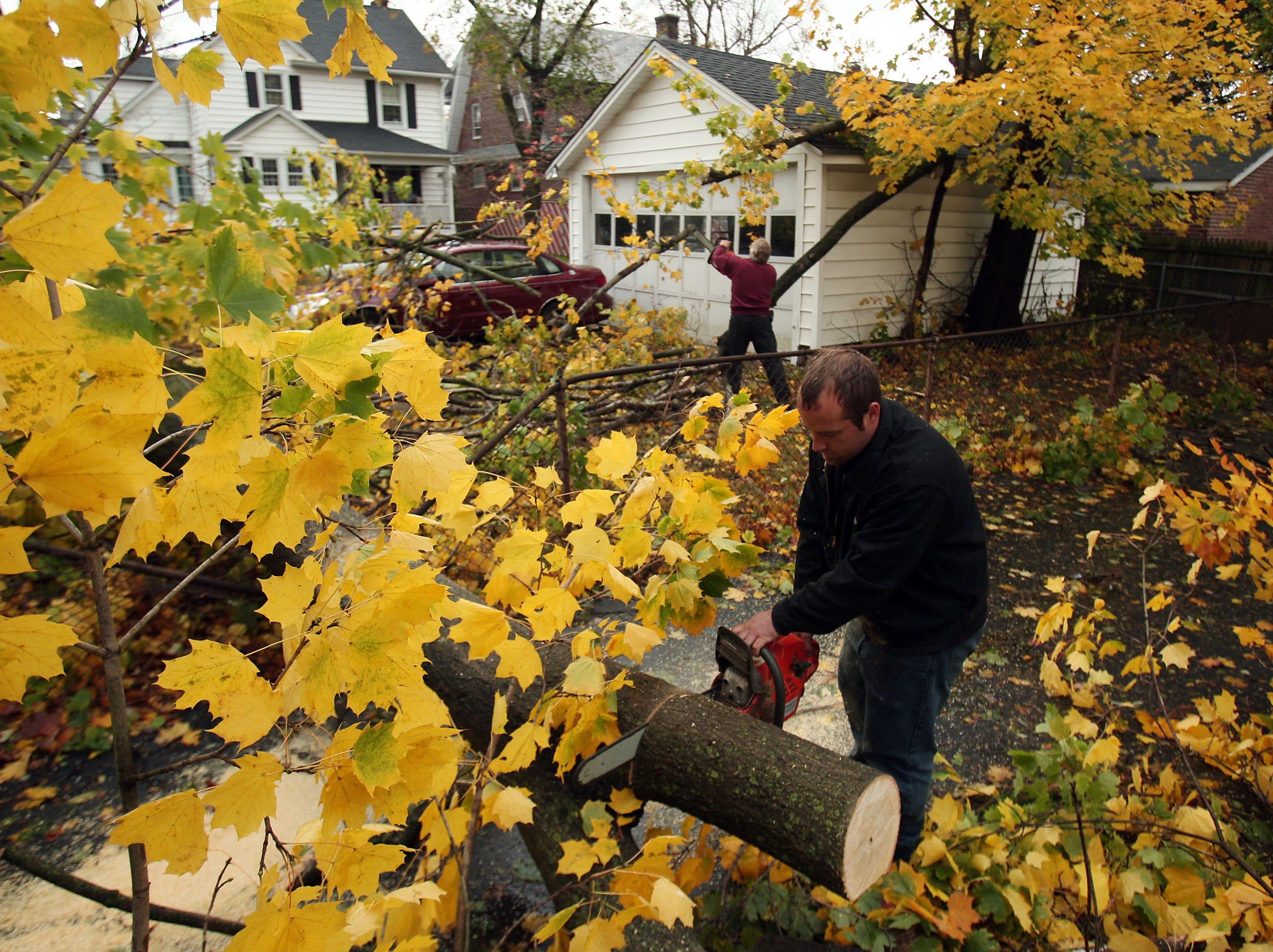 Morristown, NJ-- October 30, 2012--Steve Penzenik of Roxbury Area damage aftermath from Hurricane Sandy. Bob Karp/Staff Photographer/DAILY RECORD
