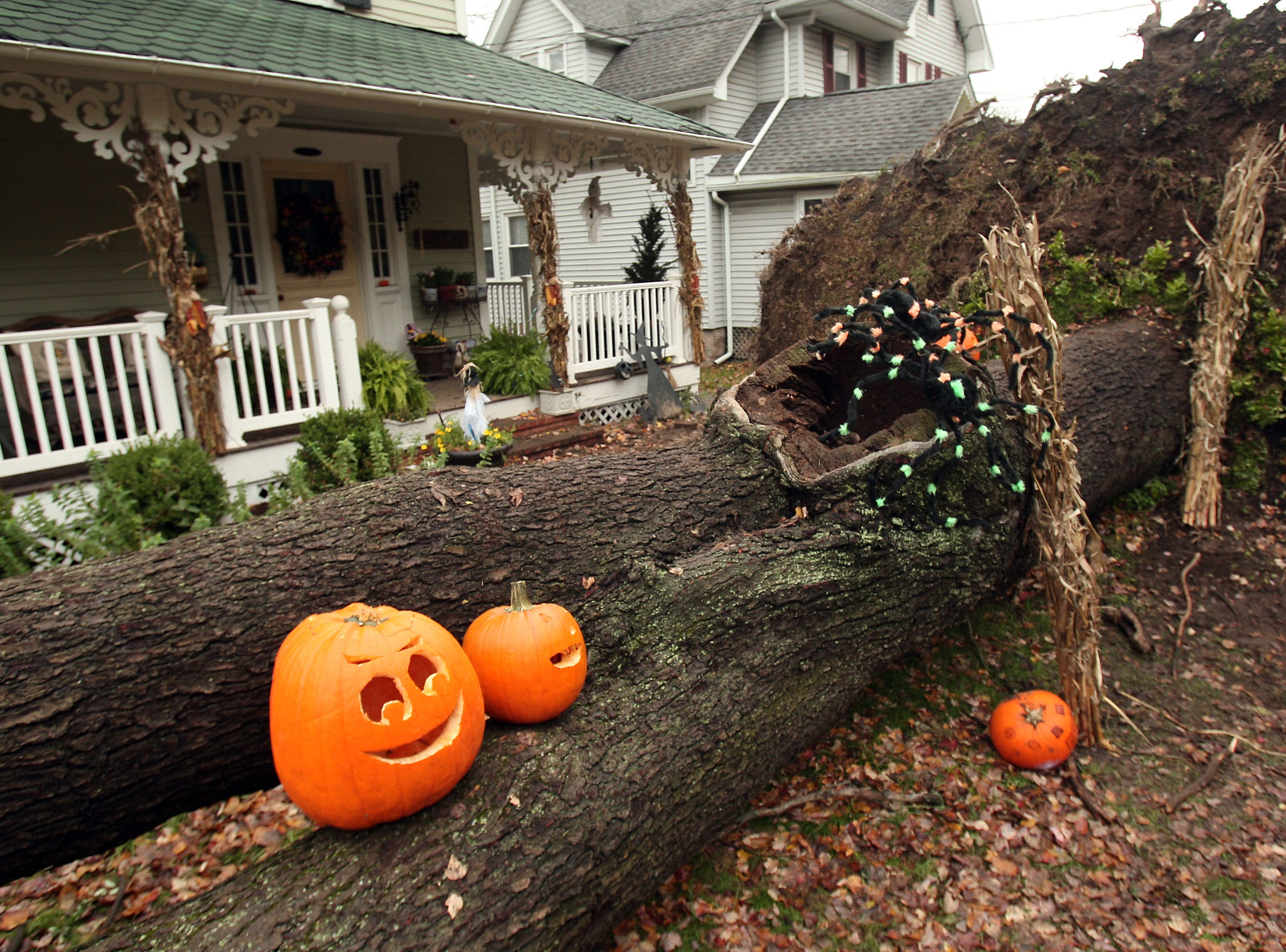 Morristown, NJ-- October 31, 2012--A family on Washington Street in Morristown, NJ hasn't lost their sense of humor in the aftermath of Hurricane Sandy. Bob Karp/Staff Photographer/DAILY RECORD