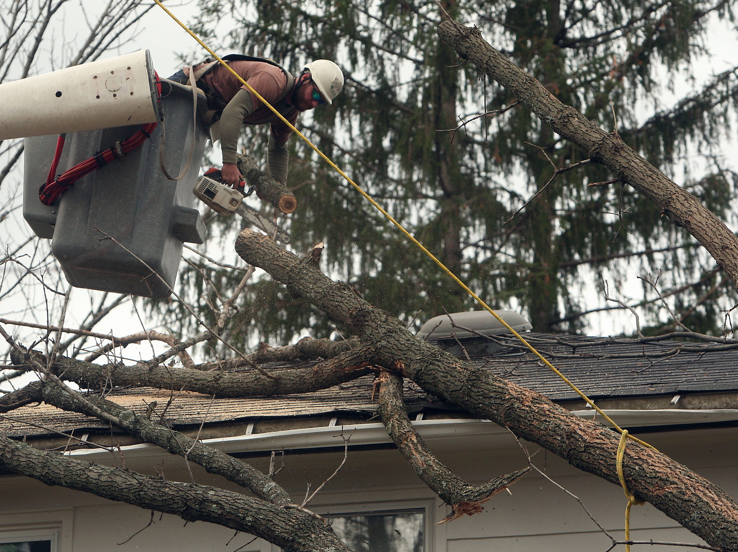 Madison, NJ- November 1, 2012--A contractor for Bartlett Tree Services cuts down a large tree that landing on a Madison, NJ home as locals continue the recovery process after Hurricane Sandy devastated the eastern seaboard.
