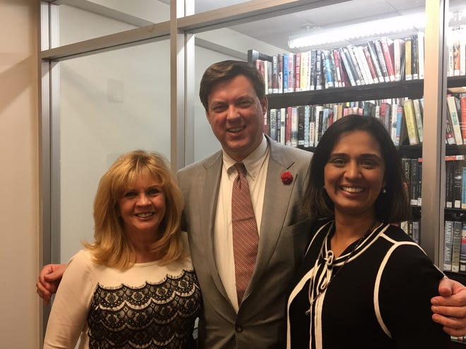 Democratic candidates for Morris Co. freeholder from left: Mary Dougherty, Rich Corcoran, Rupande Mehta.