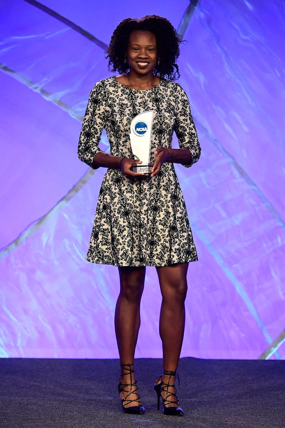 Keturah Orji, a Mount Olive and Georgia alumnus, was named the 2018 NCAA Woman of the Year at the Westin Indianapolis in Indianapolis, IN. Timothy Nwachukwu/NCAA Photos