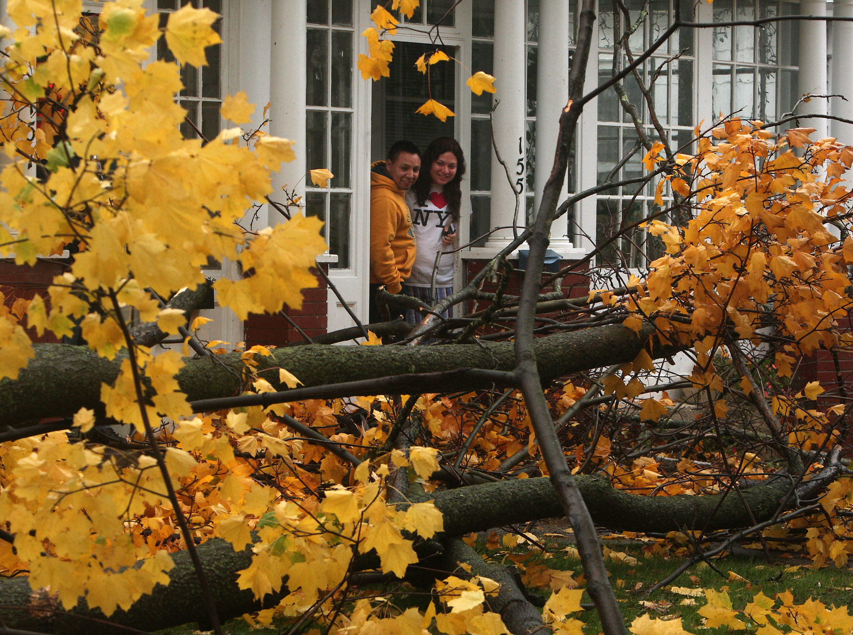 Morristown,NJ-- October 29, 2012--David Zwingle and his fiance Alejandra Juarez take a look out of their front door moments after a maple tree fell was blown down by high winds from Hurricane Sandy. 
