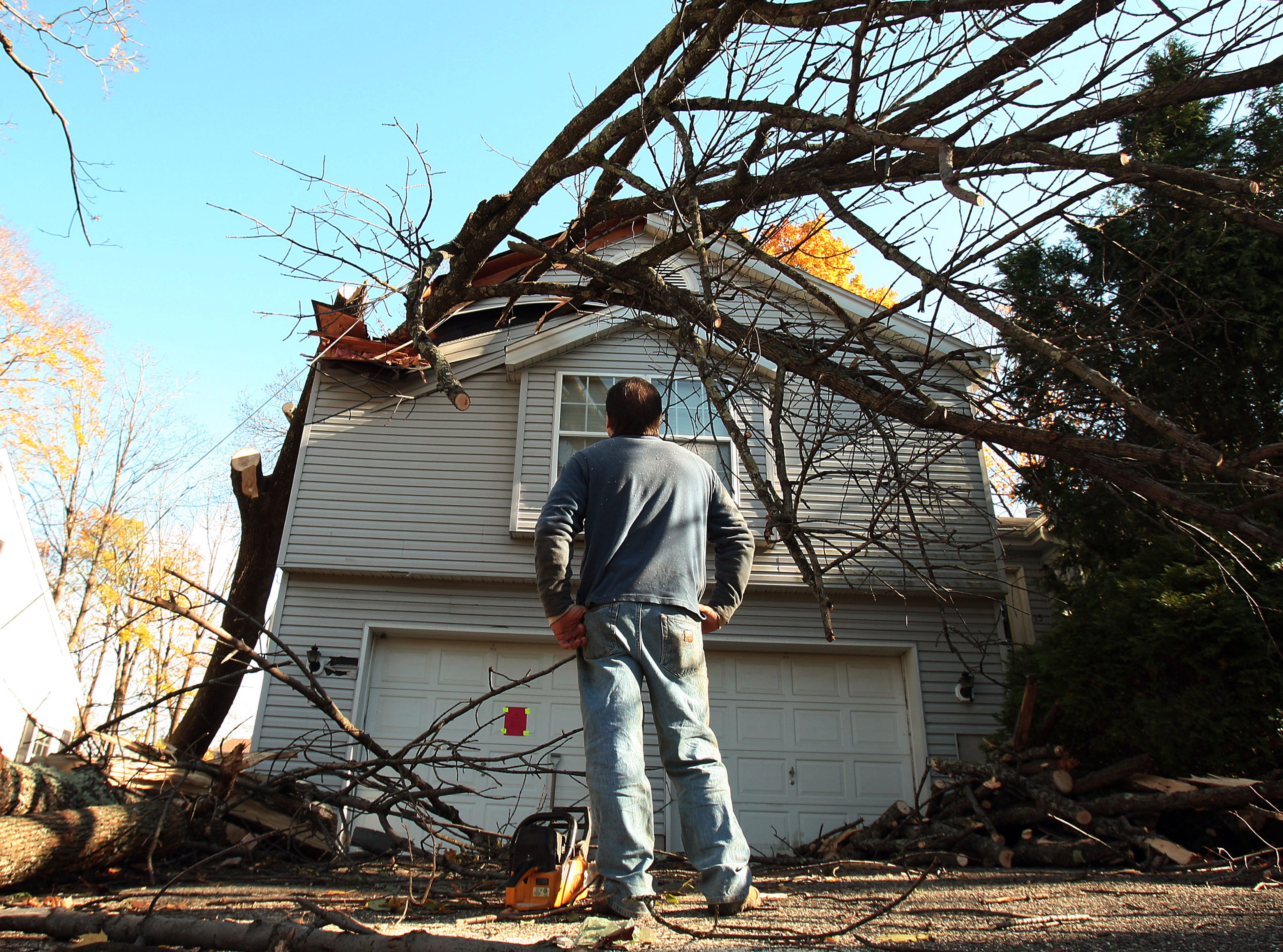 Morristown, N.J.- November 5, 2012-- Joe Esposito of HLM Designs in Randolph, NJ sizes up a large tree that destroyed part of a Morristown homeowners roof during Hurricane Sandy.
