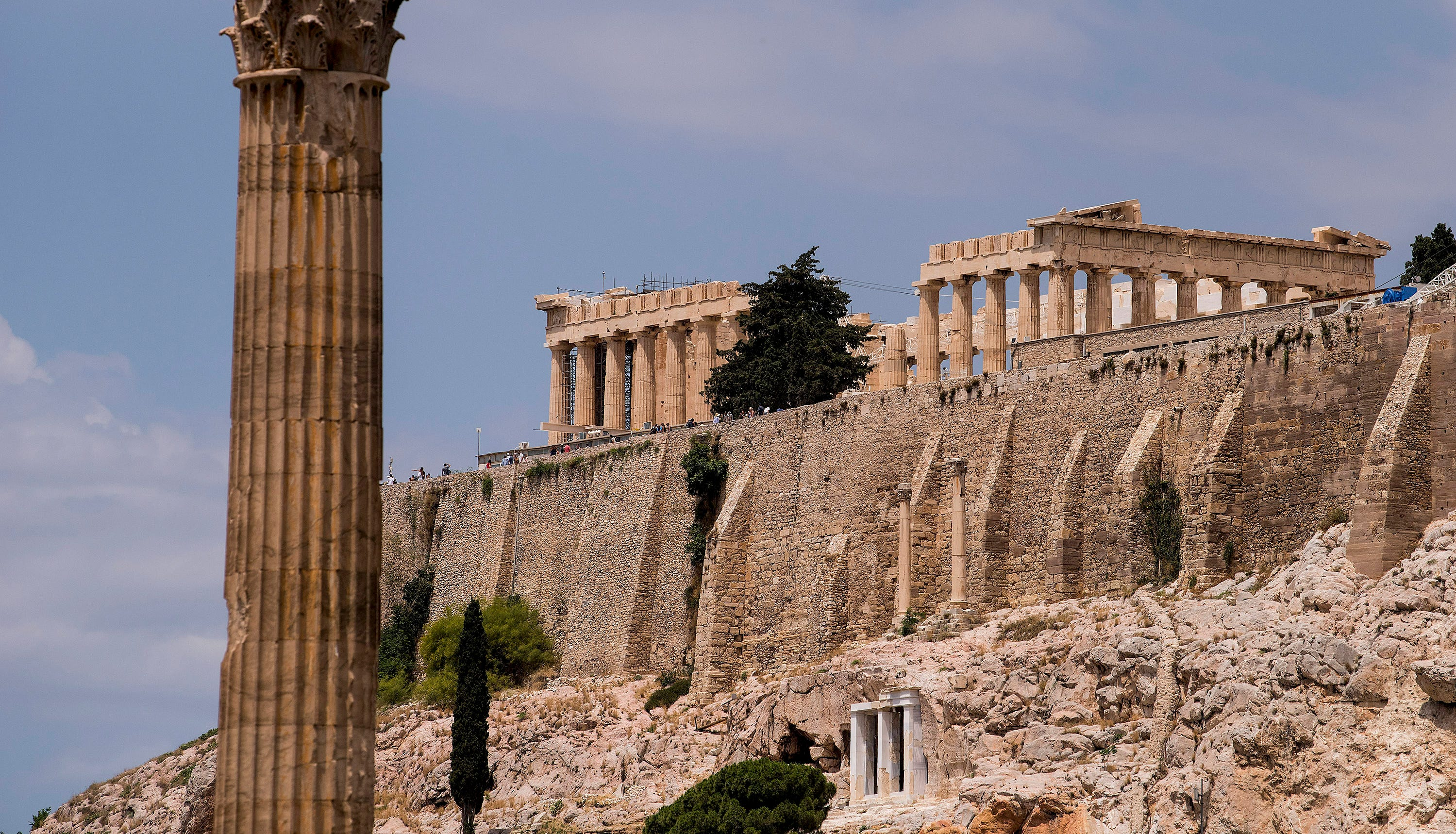 The Parthenon on top of the Acropolis in  Athens.