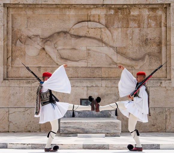 The guard ceremony at the Presidential Mansion in Athens.