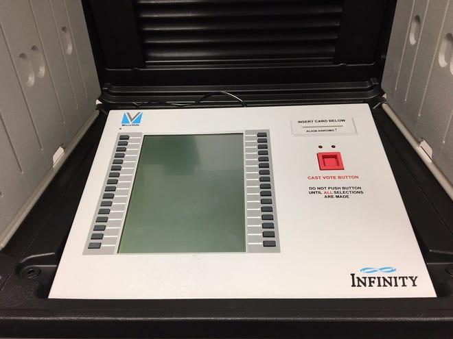 Voting machine in Delaware County.