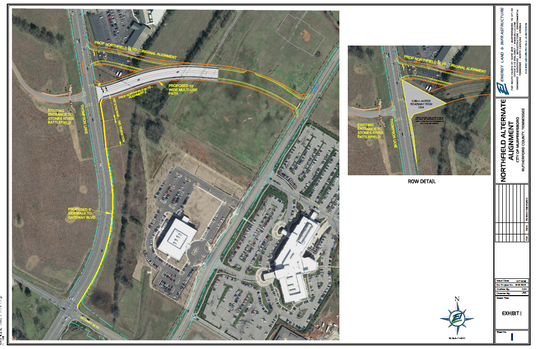 This map shows in yellow where the Murfreesboro City Council seeks to build a Northfield Extension in the Gateway area that would connect to the Thompson Lane entrance of the Stones River National Battlefield.