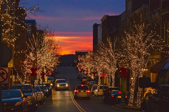 Christmas lights along historic Franklin Street in Clarksville.