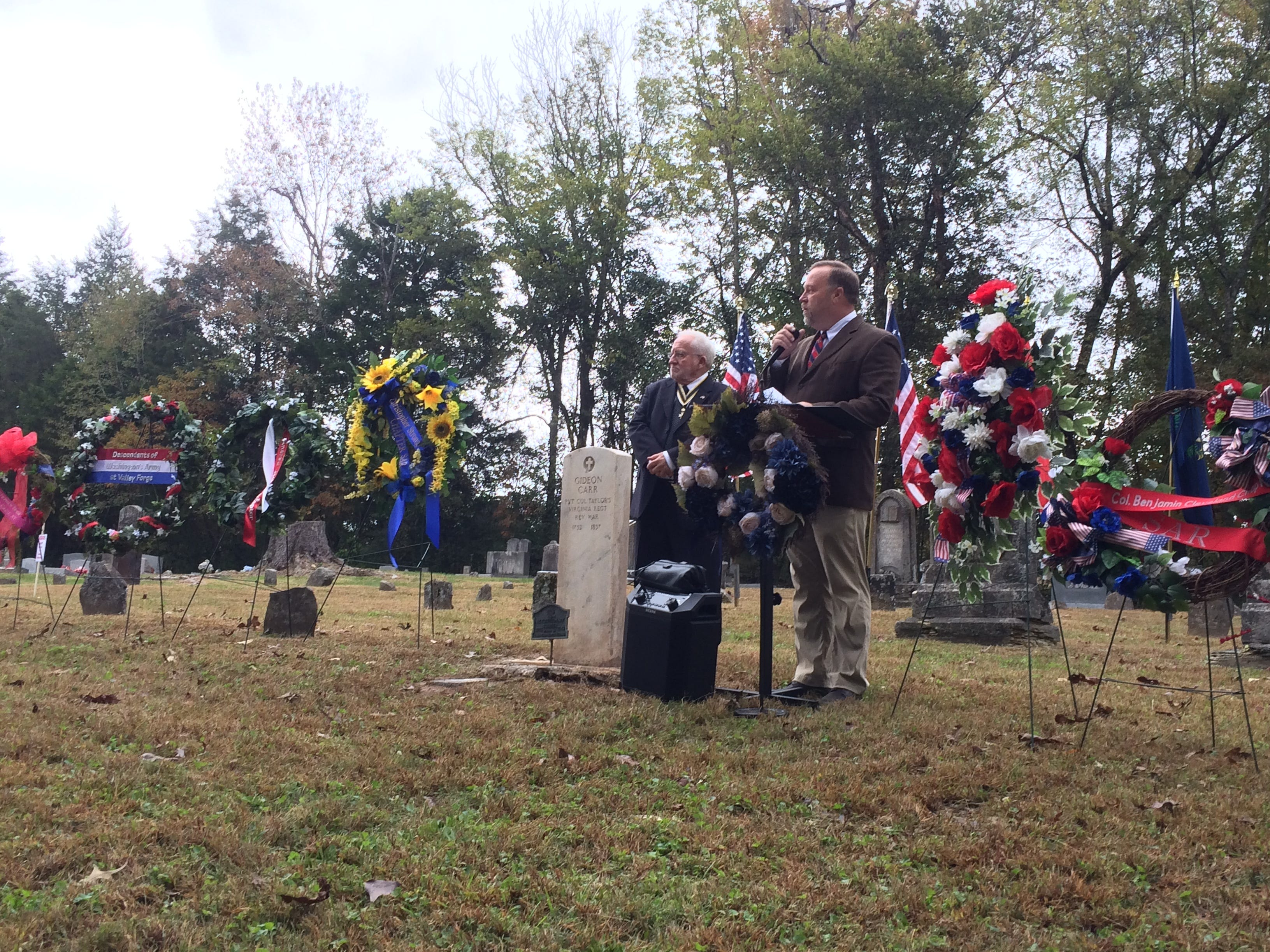 Alan Ragan at the ceremony Saturday honoring Gideon Carr at Stuart Cemetery in Dickson County.